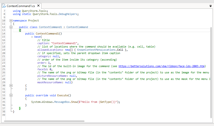 Scaffolded context menu